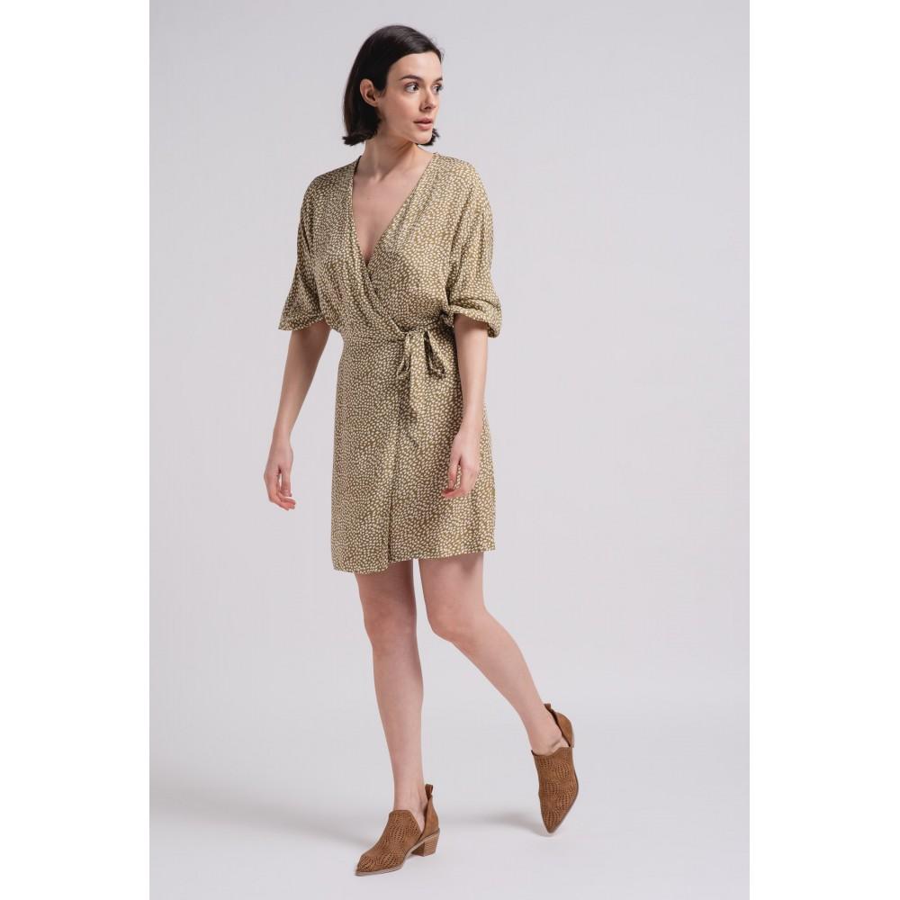 Vestido cruzado Mujer Hojas