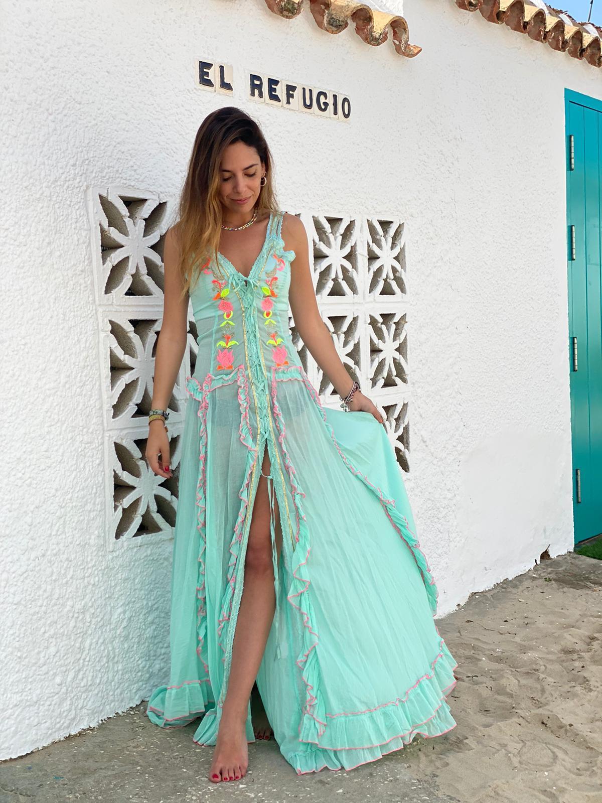 Vestido Boho Maxi Aguamarino