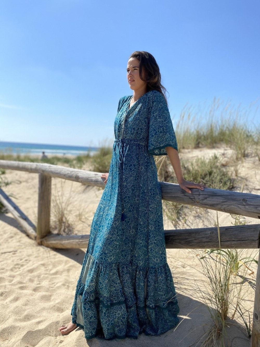 Vestido Mujer Boho Menta
