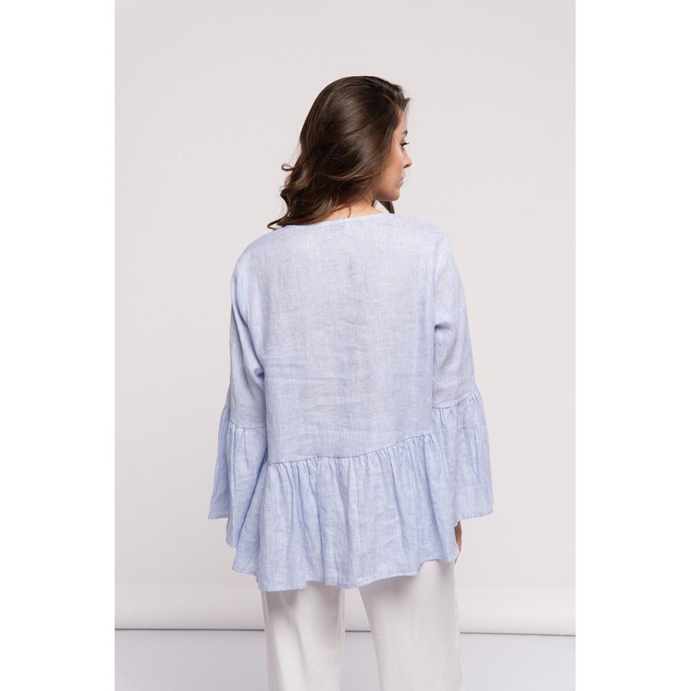 blusa tunica branco azul