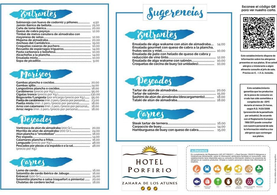 carta menu restaurante Porfirio zahara